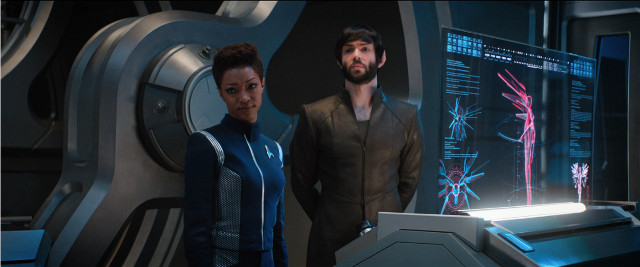 Michael Burnham (Sonequa Martin-Green) and Spock (Ethan Peck) in Project Daedalus (Image courtesy CBS / Netflix. All rights reserved)