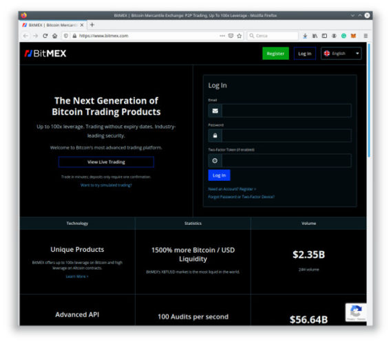 BitMEX's home page