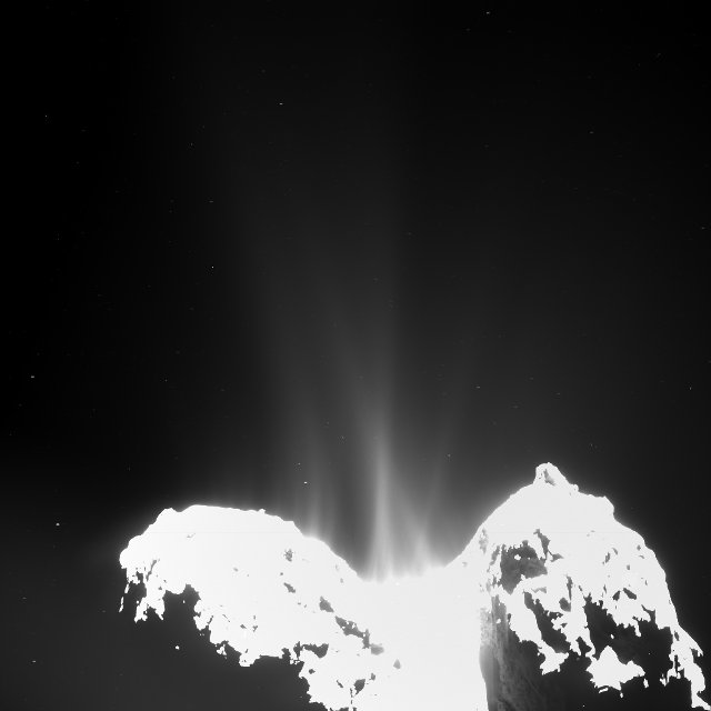 Image of emissions of water vapor and other compounds from the comet 67P/Churyumov-Gerasimenko taken by one of the cameras of the Rosetta space probe's OSIRIS set (Image ESA/Rosetta/MPS for OSIRIS Team MPS/UPD/LAM/IAA/SSO/ INTA/UPM/DASP/IDA)