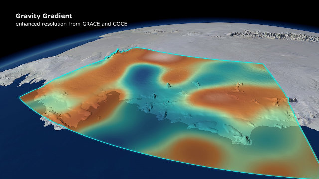 Areas in West Antarctica where the force of gravity dips following ice melt (Image DGFI/Planetary Visions)