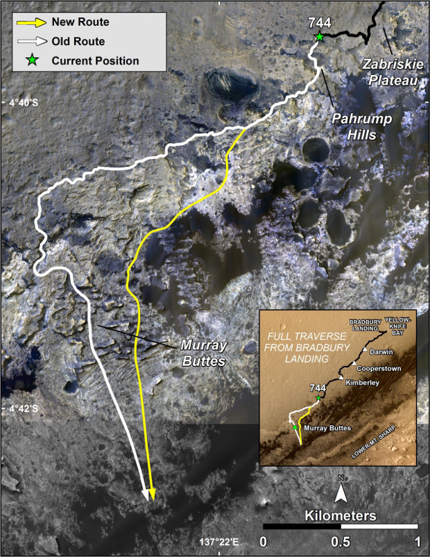 The route of the Mars Curiosity rover up Mount Sharp. In white the original route, in yellow the new revised one (Image NASA/JPL-Caltech/Univ. of Arizona)