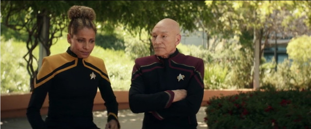 Raffi Musiker (Michelle Hurd) and Jean-Luc Picard (Patrick Stewart) in The End is the Beginning (Image courtesy CBS All Access / Amazon Prime Video)