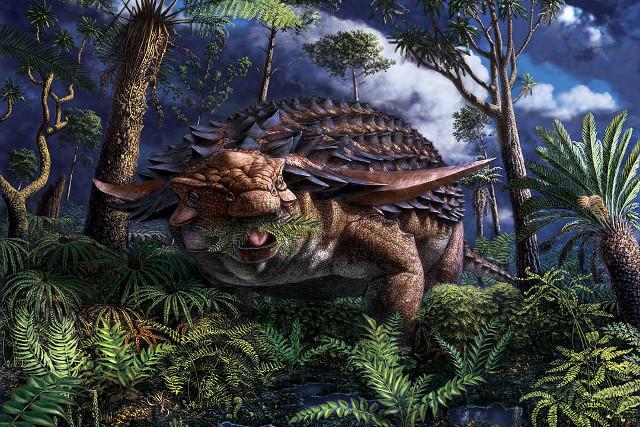 Artist's concept of Borealopelta markmitchelli (Image courtesy Julius Csotonyi © Royal Tyrrell Museum of Palaeontology)