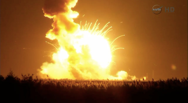 Orbital Sciences Cygnus spacecraft destroyed by the explosion of the Antares rocket after lift off (Image NASA TV)